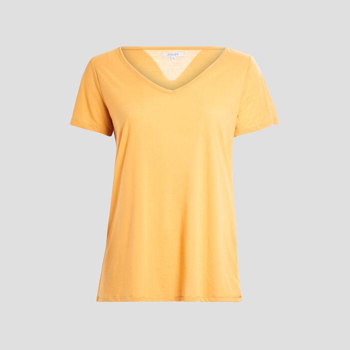 T-shirt manches courtes femme grande taille jaune moutarde