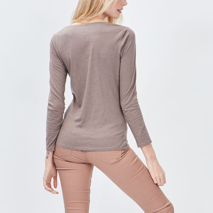 T-shirt manches longues femme taupe