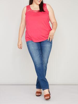Pantalon uni grande taille denim stone femme