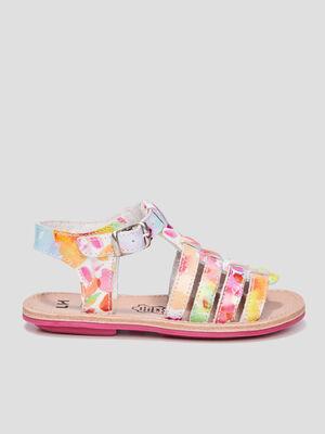Sandales en cuir multicolore fille