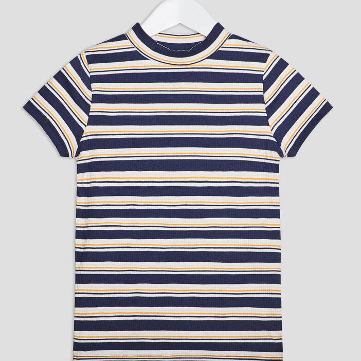 T-shirt manches courtes côtelé fille bleu marine