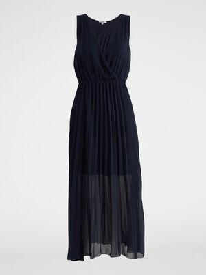 Robe longue droite sans manches bleu marine femme