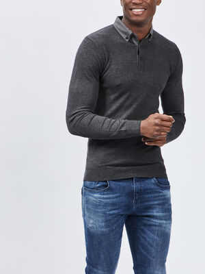 Pull avec col polo gris fonce homme