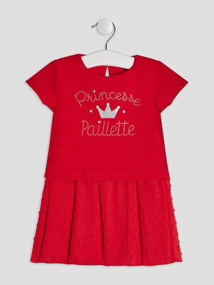 Robe evasee manches courtes rouge bebef
