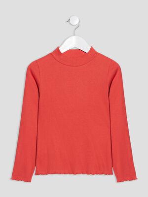 T shirt manches longues rouge fonce fille