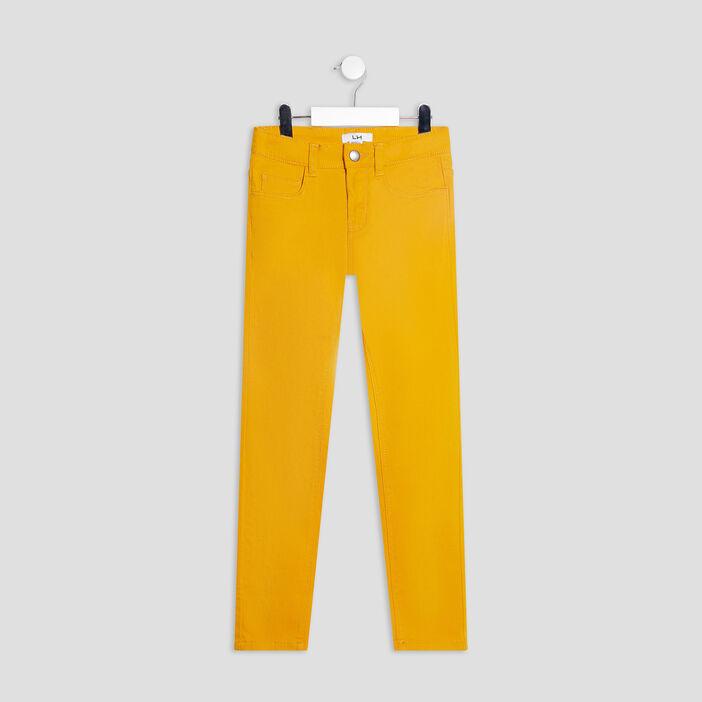 Pantalon skinny stretch garçon jaune moutarde