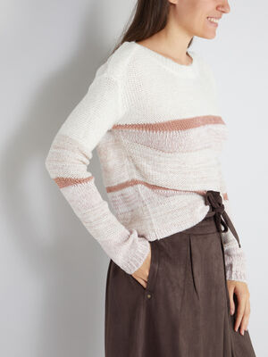 Pull a rayures fils metalliques multicolore femme