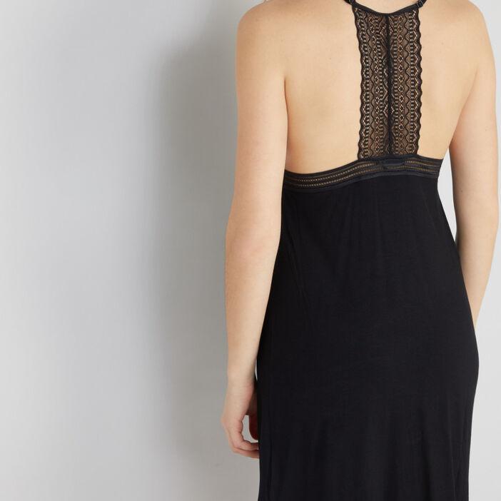 Chemise de nuit à manches courtes femme noir