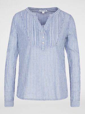 Chemise ample imprimee en coton bleu marine femme