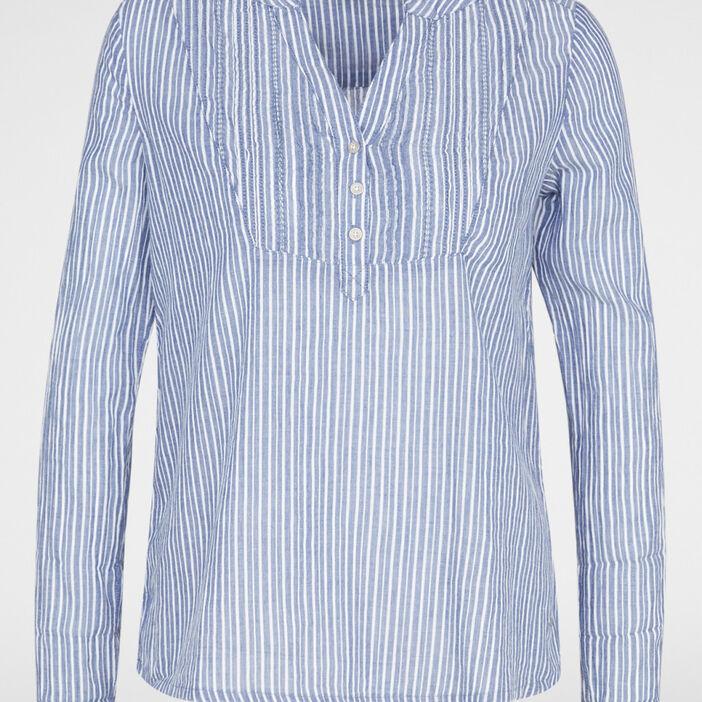 Chemise ample imprimée en coton femme bleu marine