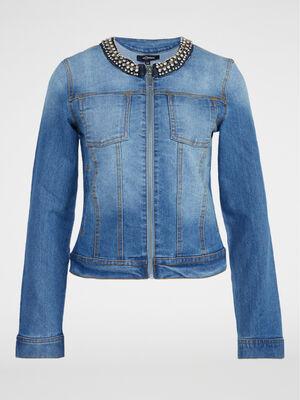 Veste en jean col bijou denim double stone femme