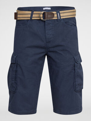 Bermuda coton uni avec ceinture bleu marine homme