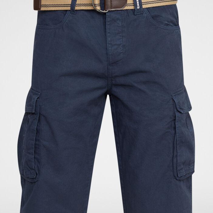 Bermuda coton uni avec ceinture homme bleu marine