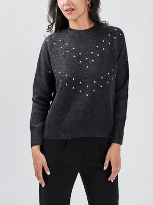 Pull manches longues Liberto gris fonce femme