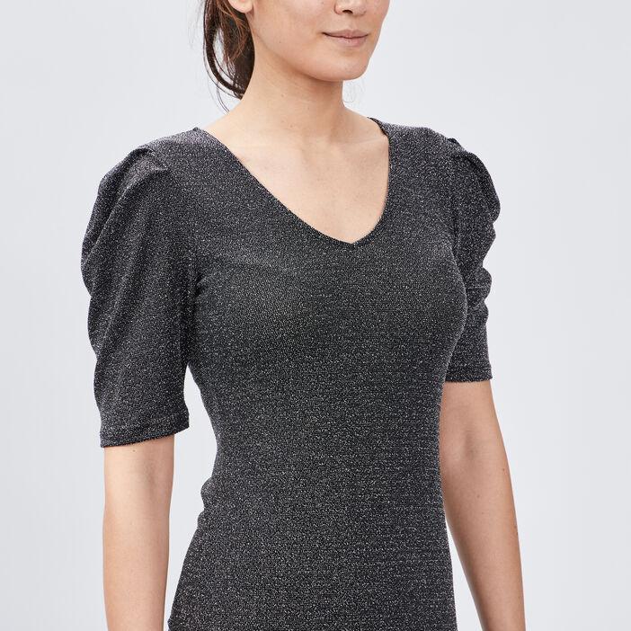Robe ajustée pailletée femme couleur argent