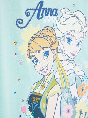 T shirt coton La Reine des Neiges vert pastel fille