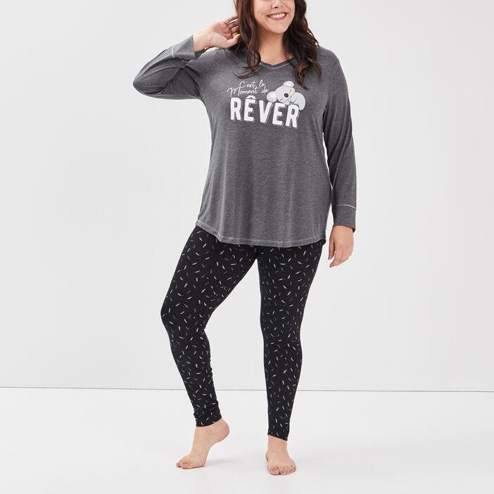Ensemble pyjama grande taille femme grande taille gris foncé