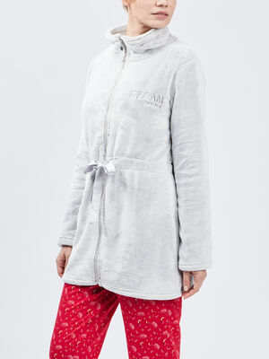 Veste de pyjama avec broderie taupe femme