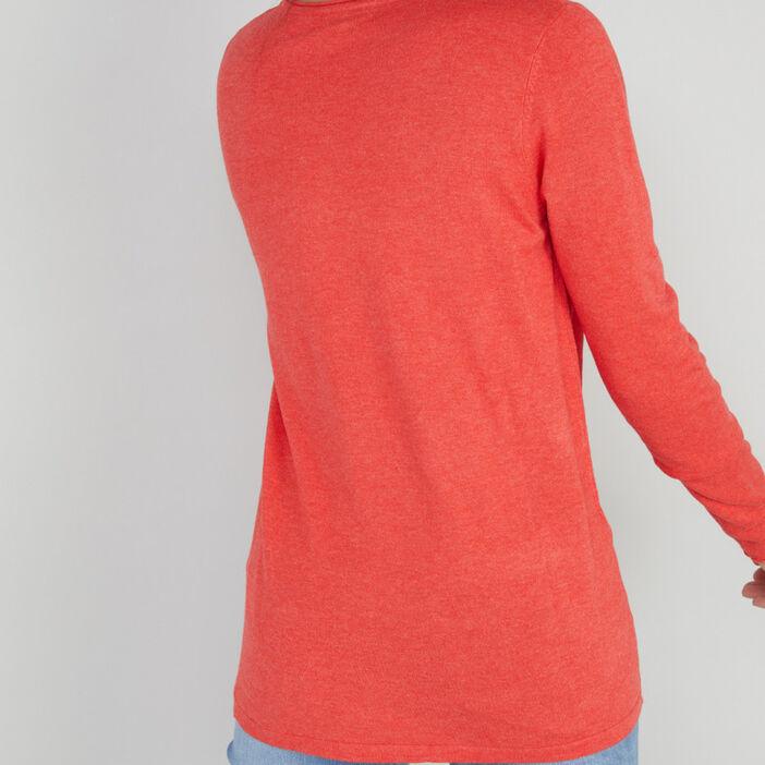 Pull avec col en V femme orange corail