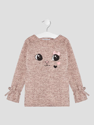 Pull manches longues rose fille