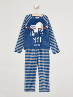 Pyjama long molleton a message bleu marine garcon