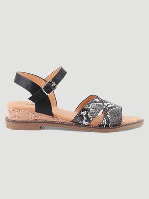 Sandales compensees effet python noir femme