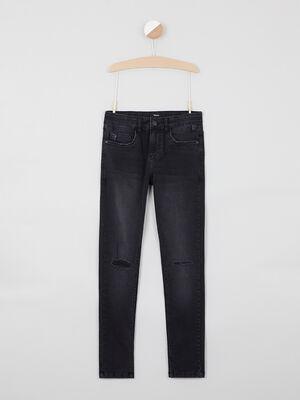 Jean skinny zippe coton majoritaire denim snow noir garcon