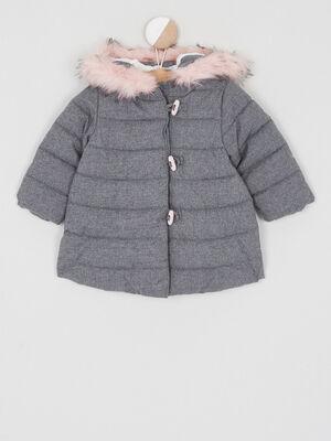 manteau avec fourrure synthetique gris fille