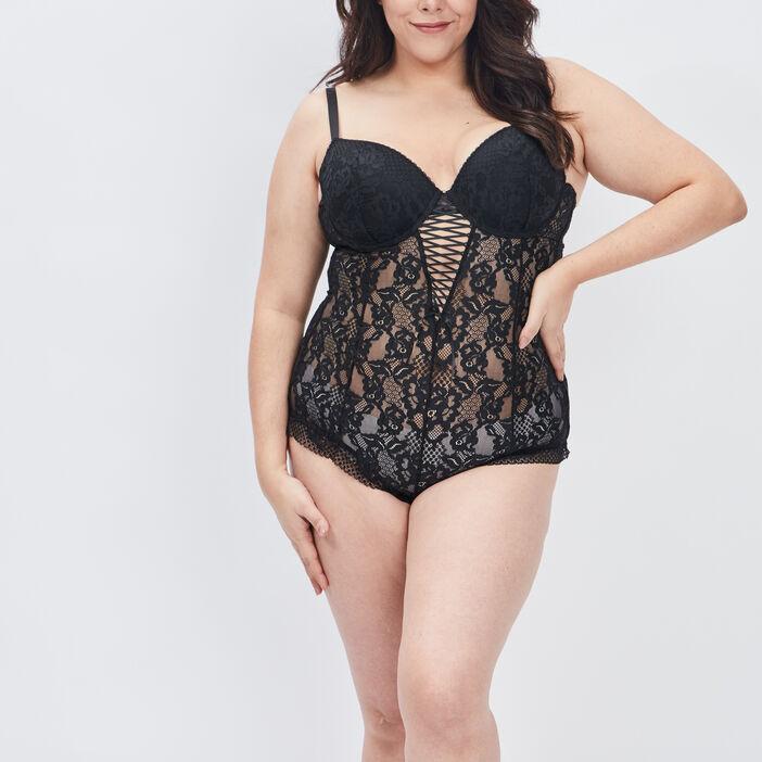 Body à dentelle femme grande taille noir