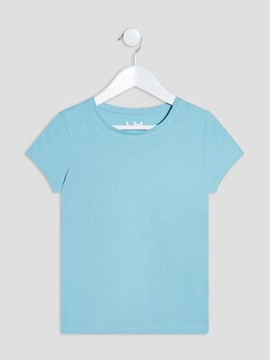 T shirt manches courtes bleu fille