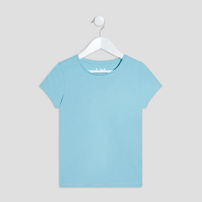 T-shirt manches courtes fille bleu
