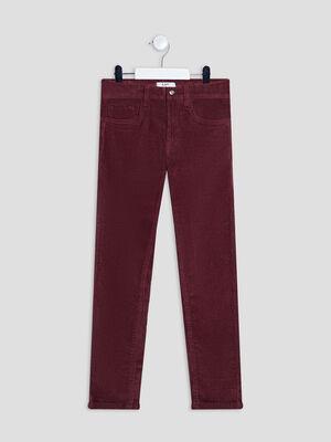 Pantalon slim velours cotele bordeaux garcon