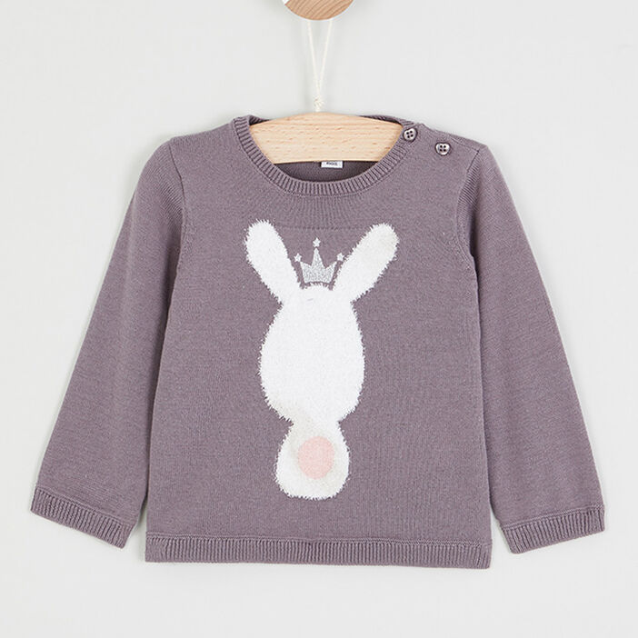 Pull col rond lapin brodé bébé fille taupe
