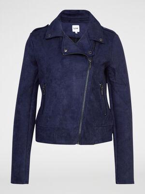 Veste motarde aspect suede bleu marine femme