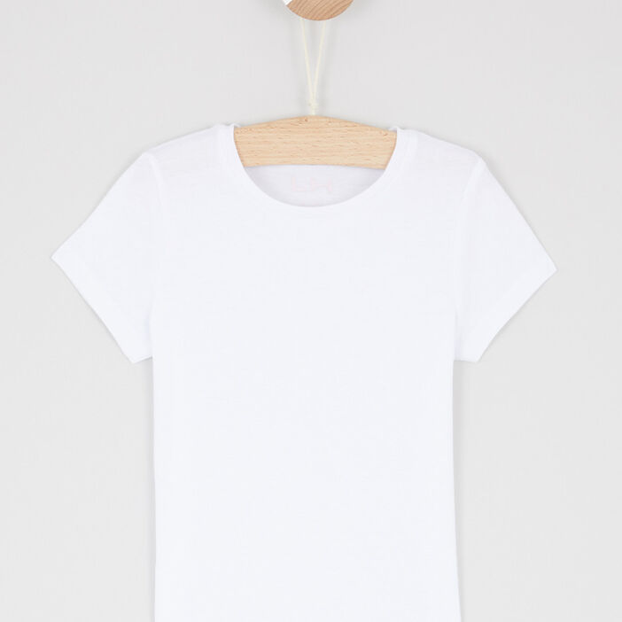 T-shirt uni à manches courtes fille blanc