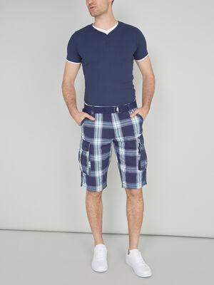 Bermuda battle ceinture en coton bleu homme