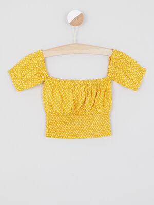 Chemise manches courtes jaune fille