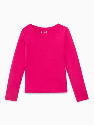 T shirt uni en coton rose fushia fille