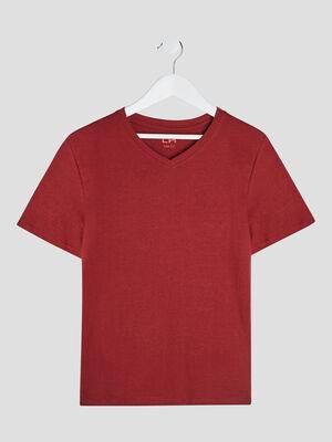 T shirt manches courtes bordeaux garcon