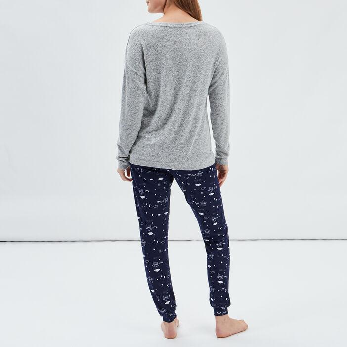 Ensemble pyjama 2 pièces femme gris clair