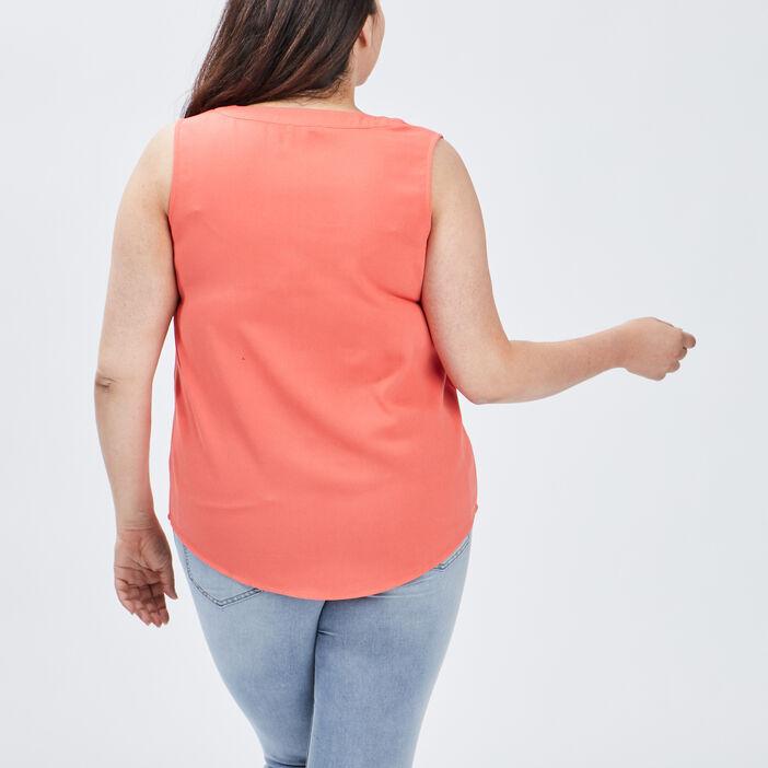 Blouse sans manches femme grande taille orange corail