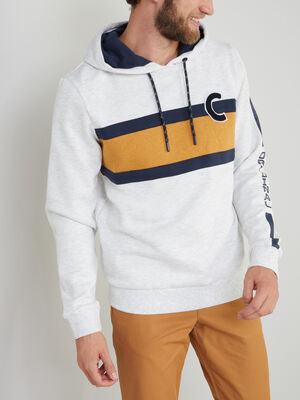 Sweatshirt a capuche avec imprime ecru homme
