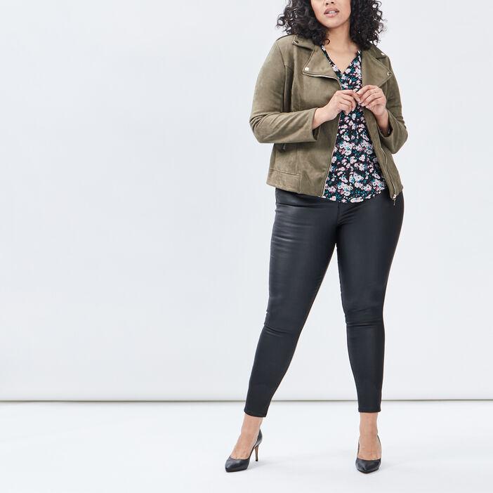Pantalon skinny détails zippés femme grande taille noir