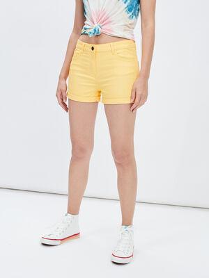 Bermuda slim jaune femme