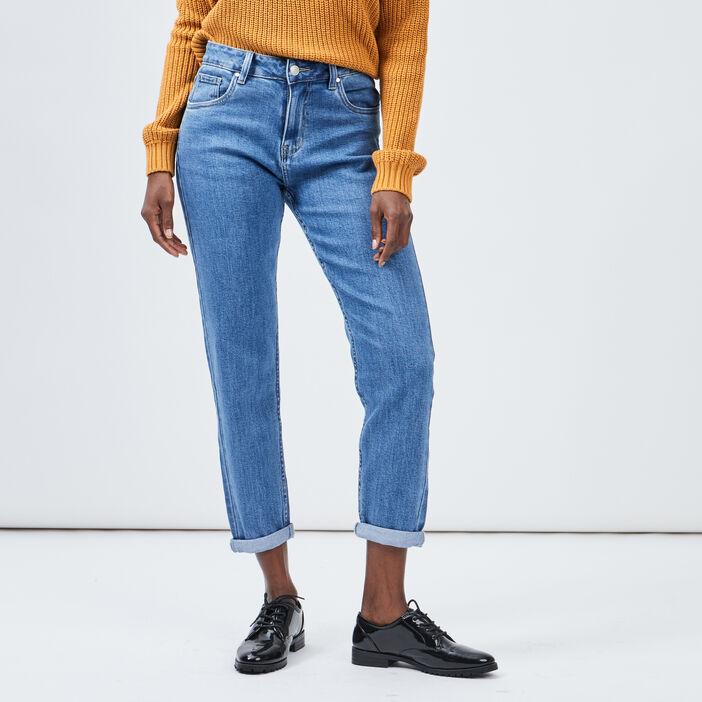 Jeans mom taille haute femme denim double stone