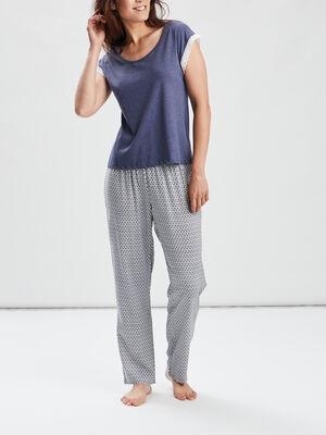 Ensemble pyjama 2 pieces bleu femme