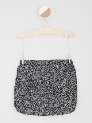 Short court imprime vegetal noir fille