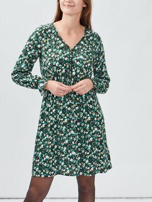 Robe droite avec col en V vert femme