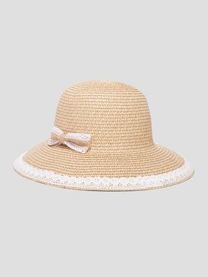 Chapeau tresse a noeud marron femme