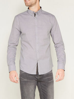 Chemise slim imprimee col boutonne blanc homme